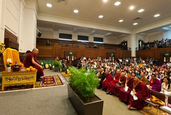 His Holine with Tibetans in london
